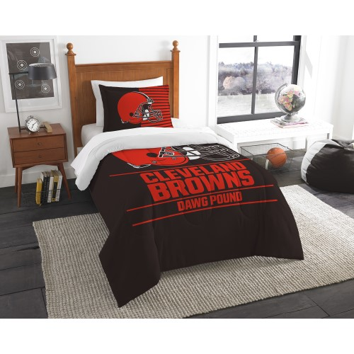 """Browns OFFICIAL National Football League, Bedding, """"Draft"""" Printed Twin Comforter (64""""x 86"""") & 1 Sham (24""""x 30"""") Set  by The Nor"""