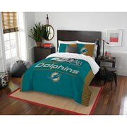 "Dolphins OFFICIAL National Football League, Bedding, ""Draft"" Full/Queen Printed Comforter (86""x 86"") & 2 Shams (24""x 30"") Set  b"