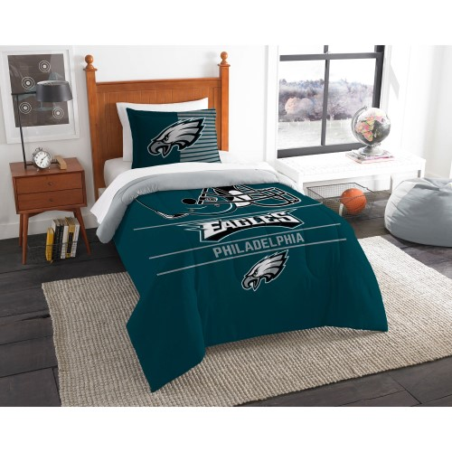 "Eagles OFFICIAL National Football League, Bedding, ""Draft"" Printed Twin Comforter (64""x 86"") & 1 Sham (24""x 30"") Set  by The Nor"