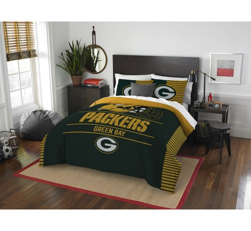 "Packers OFFICIAL National Football League, Bedding, ""Draft"" Full/Queen Printed Comforter (86""x 86"") & 2 Shams (24""x 30"") Set  by"