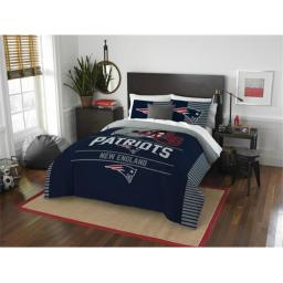 "Partiots OFFICIAL National Football League, Bedding, ""Draft"" Full/Queen Printed Comforter (86""x 86"") & 2 Shams (24""x 30"") Set  b"