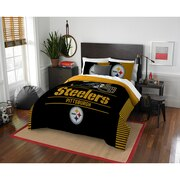 "Steelers OFFICIAL National Football League, Bedding, ""Draft"" Full/Queen Printed Comforter (86""x 86"") & 2 Shams (24""x 30"") Set  b"
