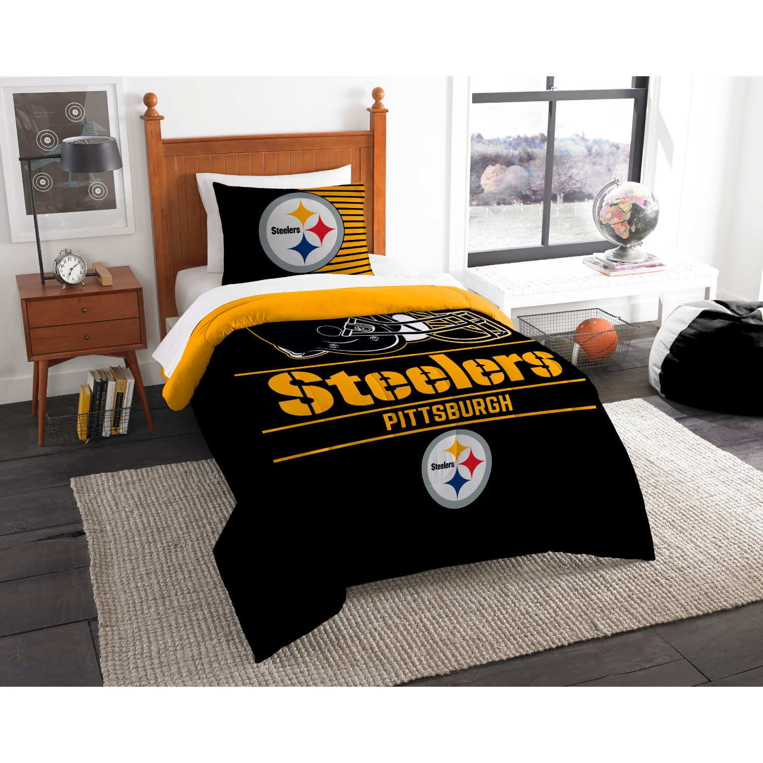 "Steelers OFFICIAL National Football League, Bedding, ""Draft"" Printed Twin Comforter (64""x 86"") & 1 Sham (24""x 30"") Set  by The N"