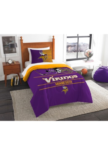 "Vikings OFFICIAL National Football League, Bedding, ""Draft"" Printed Twin Comforter (64""x 86"") & 1 Sham (24""x 30"") Set  by The No"