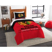"Blackhawks OFFICIAL National Hockey League, Bedding, ""Draft"" Twin Printed Comforter (64""x 86"") & 1 Sham (24""x 30"") Set  by The N"