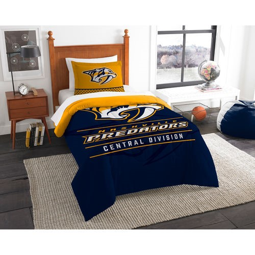 """Predators OFFICIAL National Hockey League, Bedding, """"Draft"""" Twin Printed Comforter (64""""x 86"""") & 1 Sham (24""""x 30"""") Set  by The No"""