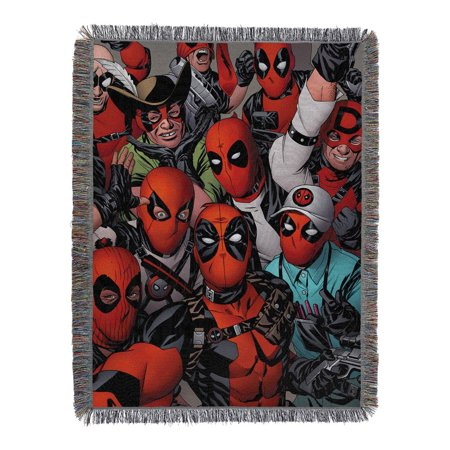 """Deadpool  We Are All Here Licensed 48""""x 60"""" Woven Tapestry Throw  by The Northwest Company"""