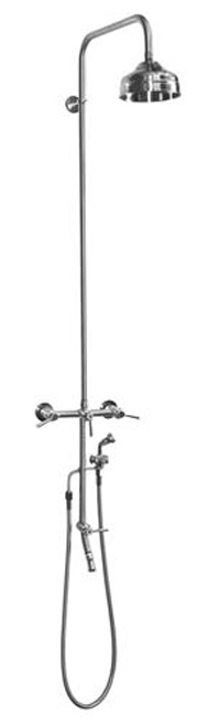 "ADA Outdoor Wall Mount Hot and Cold Shower with 6"" Shower Head in Stainless Steel"