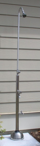 "82"" Free Standing Cold Water Shower with ADA Compliant Metered Push Valve & Hose Bibb, Foot Shower"