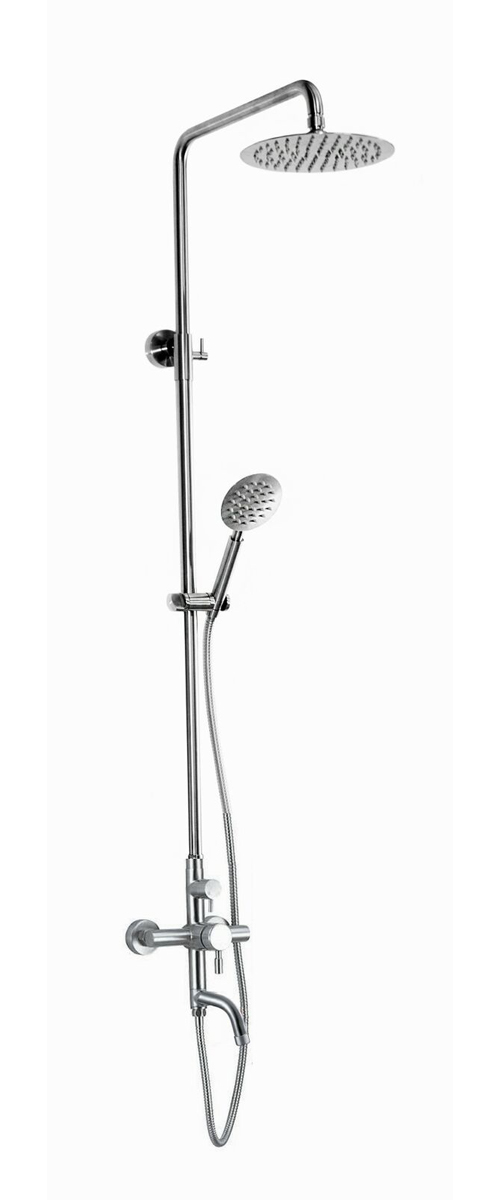 "Outdoor Wall Mount Hot and Cold Shower with 8""  Shower Head in Stainless Steel"