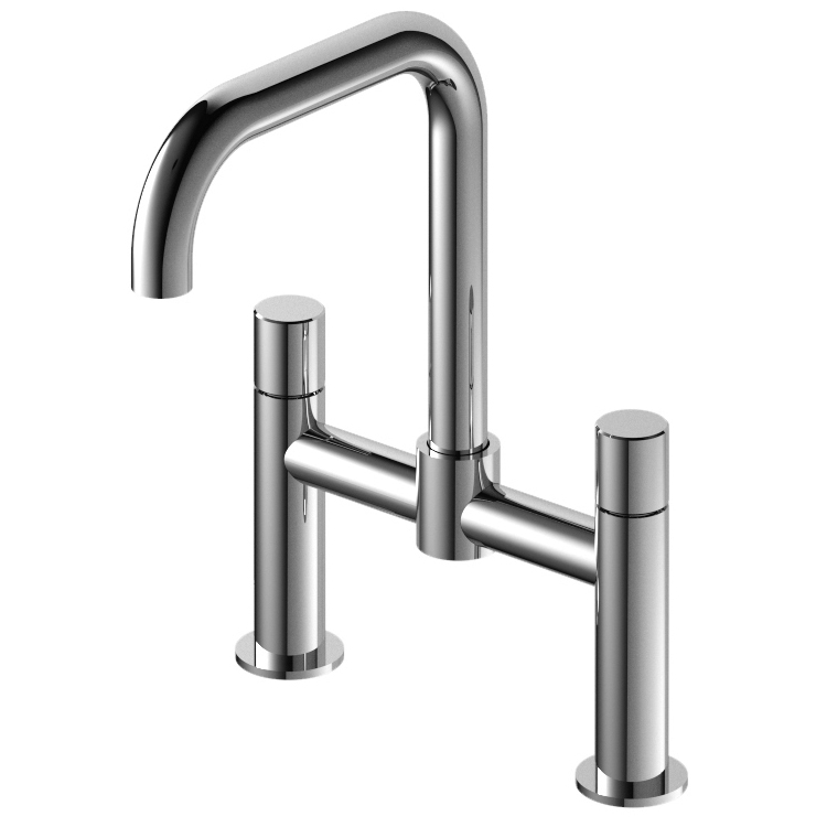 316 Marine Grade Stainless Steel Bathroom Countertop Sink Faucet with Hot and Cold Swivel Spout