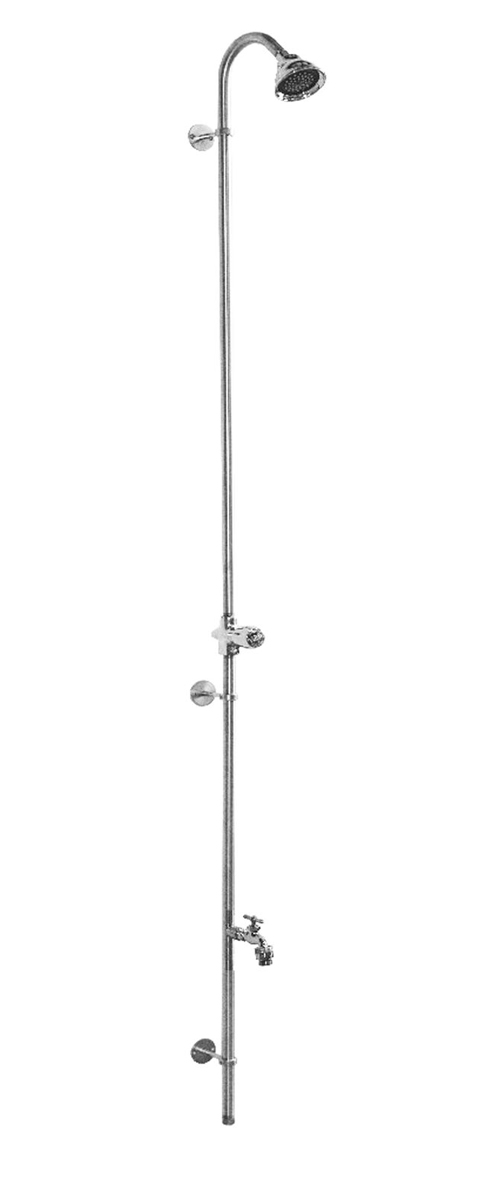"80"" Wall Mount Cold Water Shower with ADA Compliant Metered Push Valve & Hose Bibb"