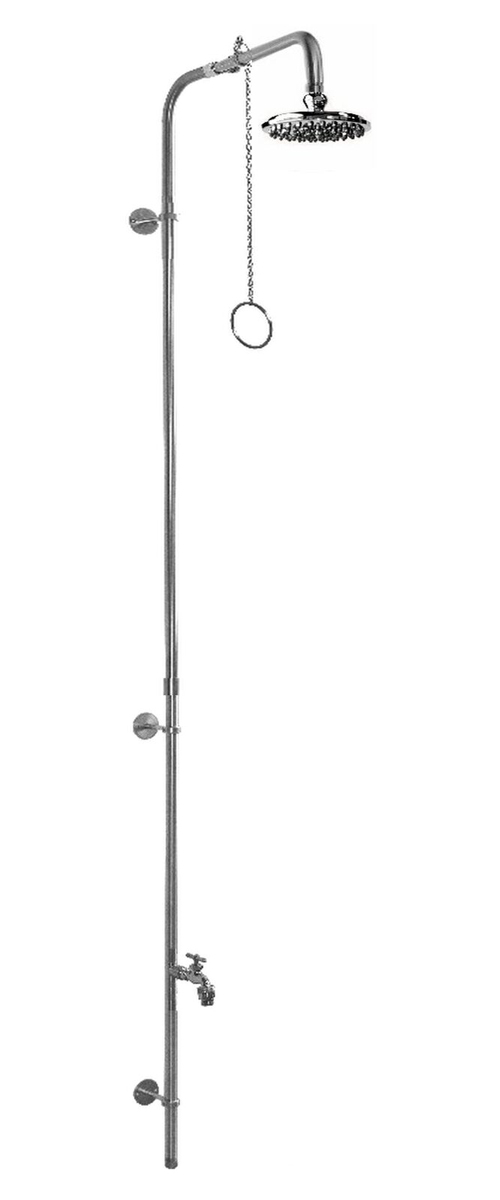 PM-500-PCV Wall Mount Single Supply Stainless Steel Shower with Hose Bibb