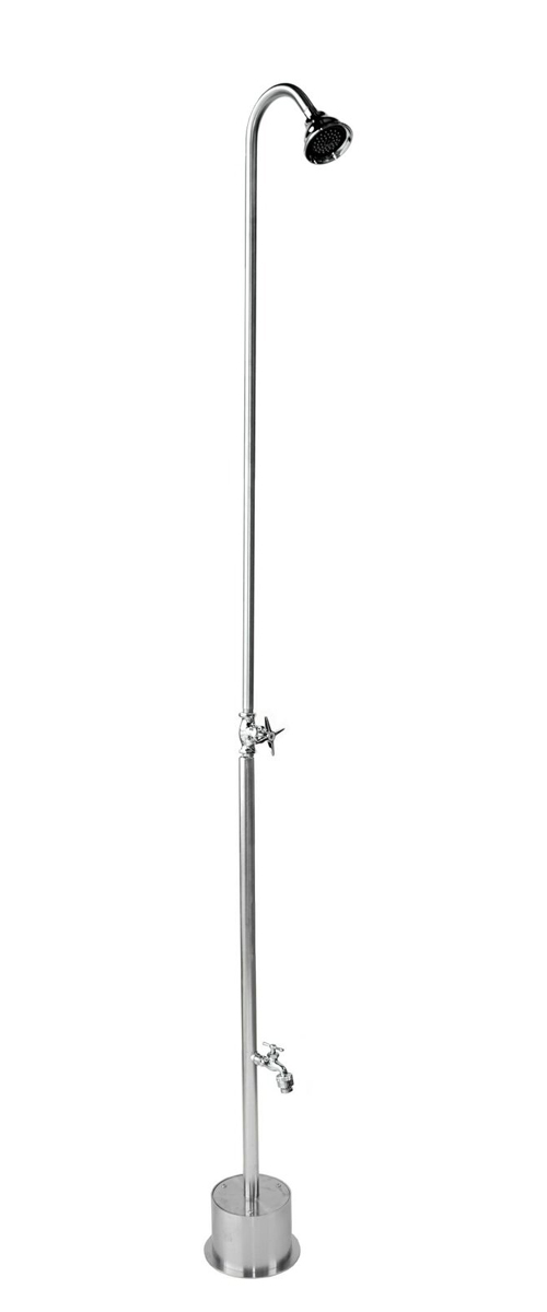 "82"" Free Standing Cold Water Shower with Cross Handle Valve & Hose Bibb"