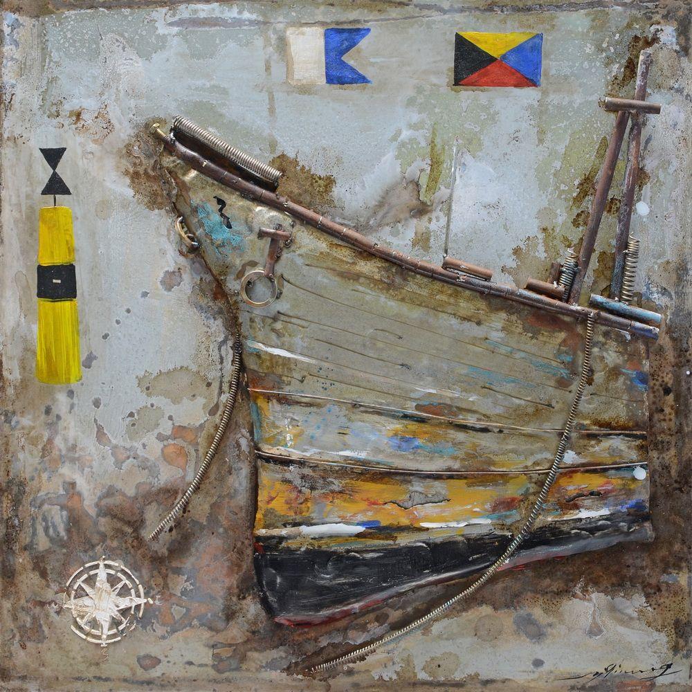 Antiqued Ship Metal Art by Urban Port