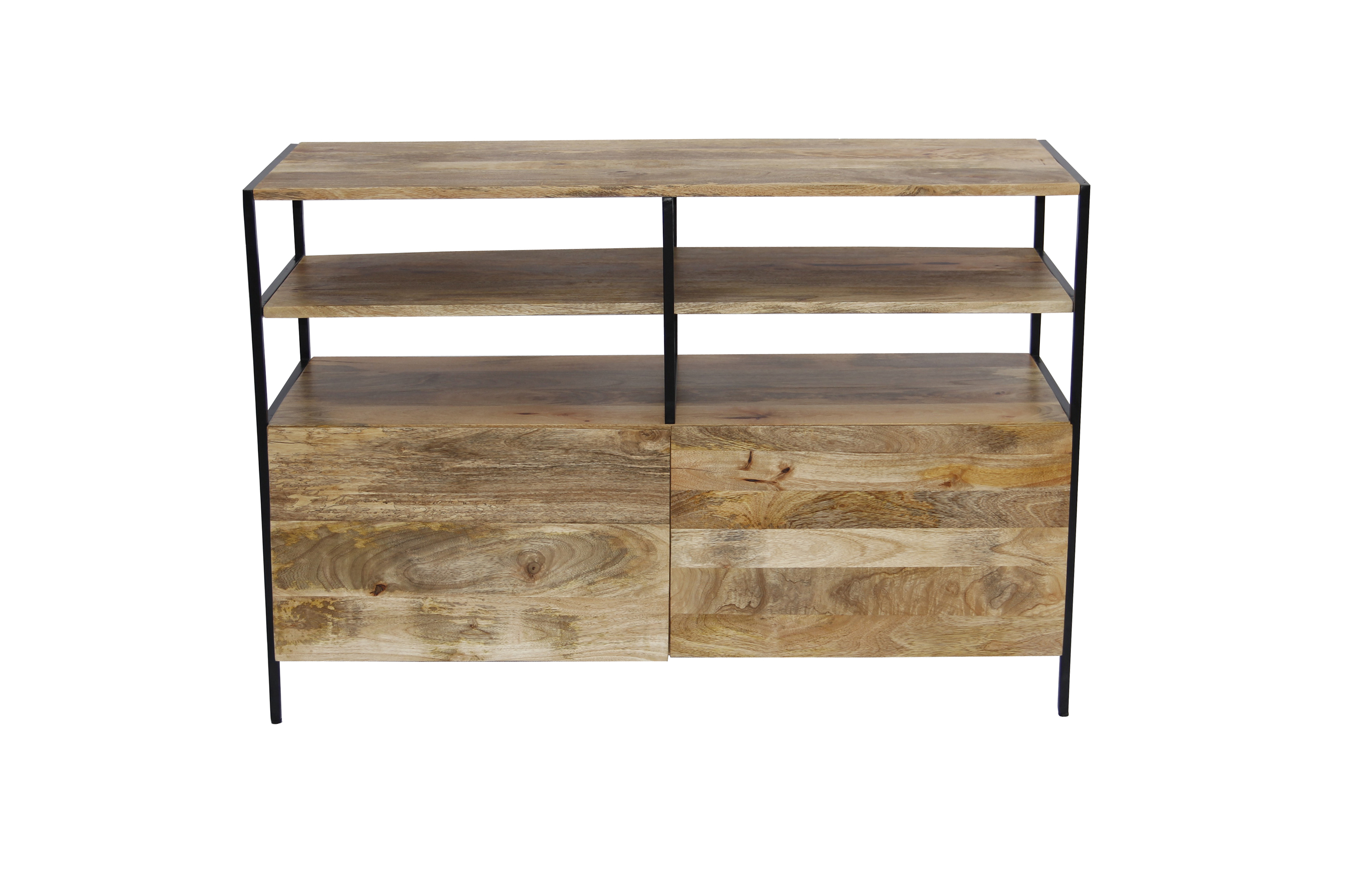 Mango Wood and Metal TV Console Stand With Storage Cabinet, Brown