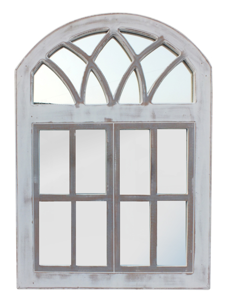 Arched Wooden Framed Window Wall Panel with Inserted Mirror, Distressed White and Clear