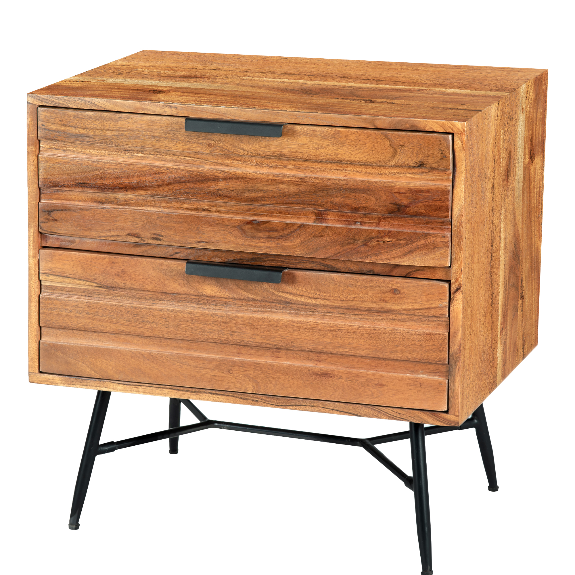 2 Drawer Wooden Nightstand with Metal Angled Legs, Black and Brown