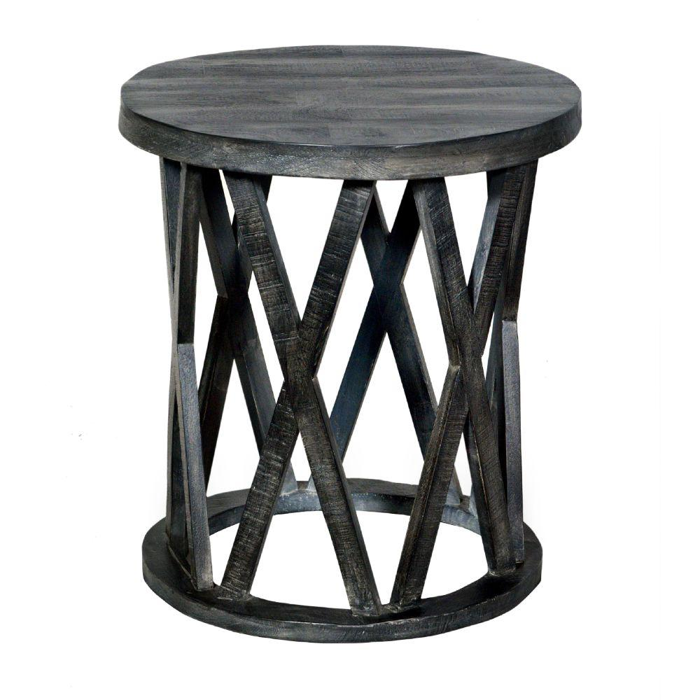 22 Inch Farmhouse Style Round Wooden End Table with Airy Design Base, Dark Gray