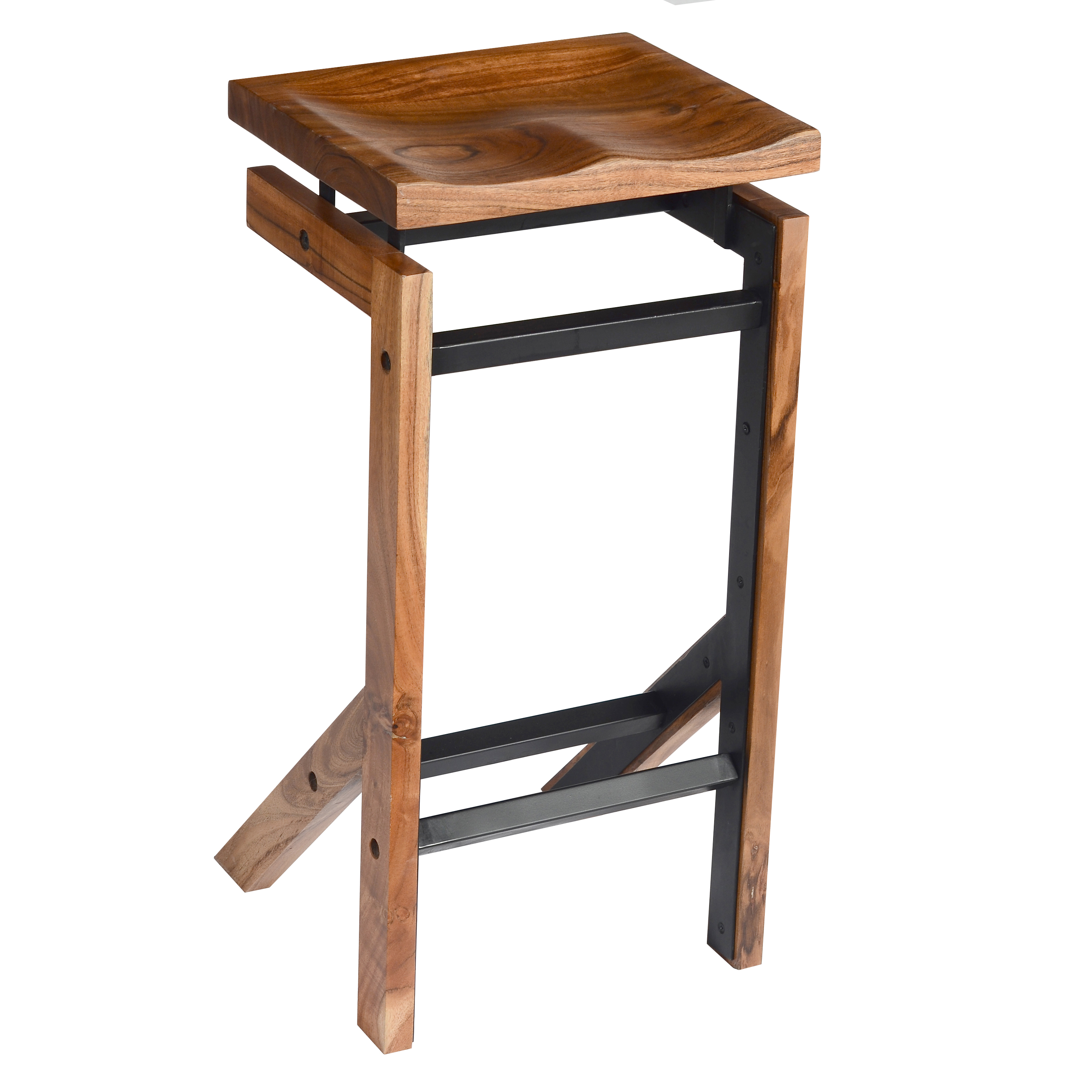 29 Inch Metal Frame Acacia Wood Bar Stool with Saddle Seat, Brown and Black