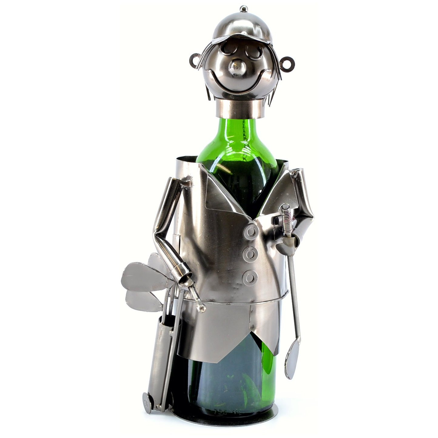 Golfer with Caddy Wine Bottle Holder