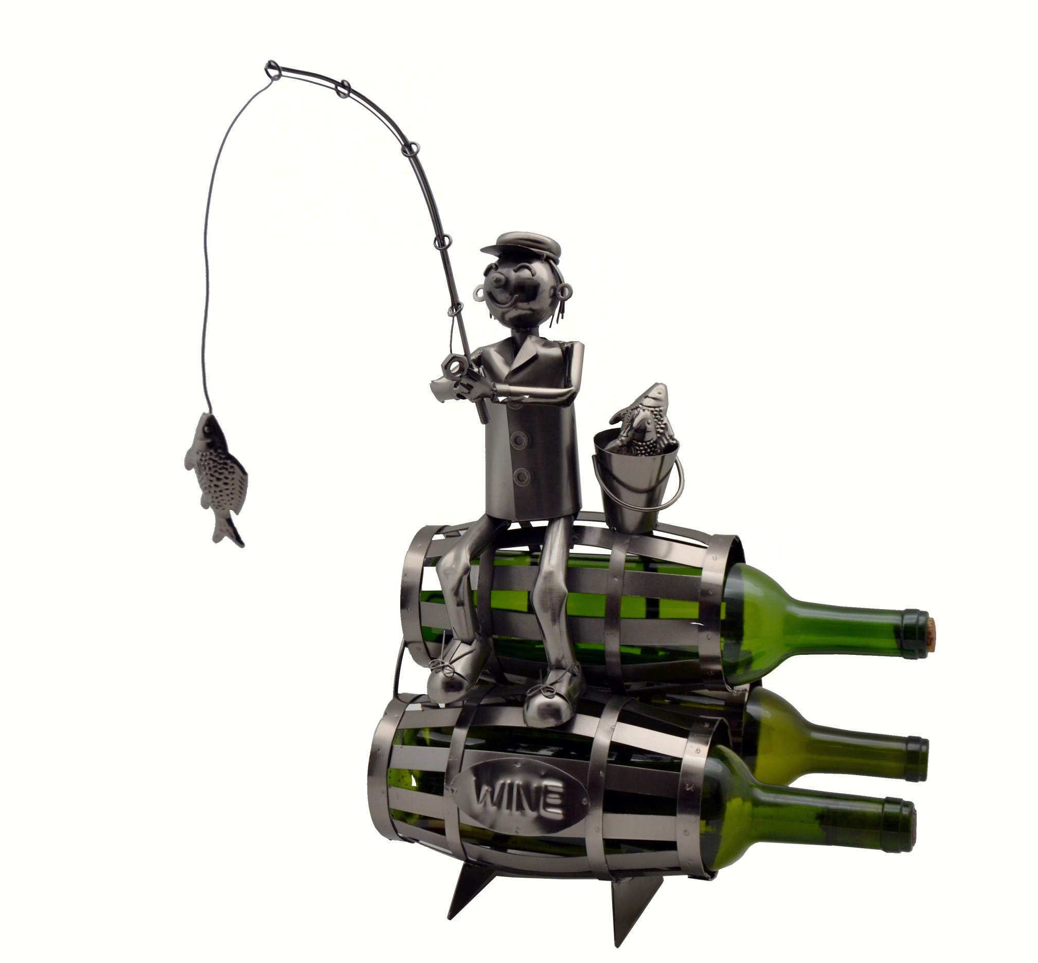 Fisherman on 3 Barrels Wine Bottle Holder