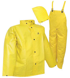 Tingley Large Yellow DuraScrim� 10.5 mil PVC And Polyester 3 Piece Rain Suit With Storm Fly Front Closure (Includes Jacket With