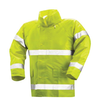 "Tingley Medium 30"" Fluorescent Yellow/Green Comfort-Brite� 14 mil PVC And Polyester Flame Resistant Rain Jacket With Storm Fly F"