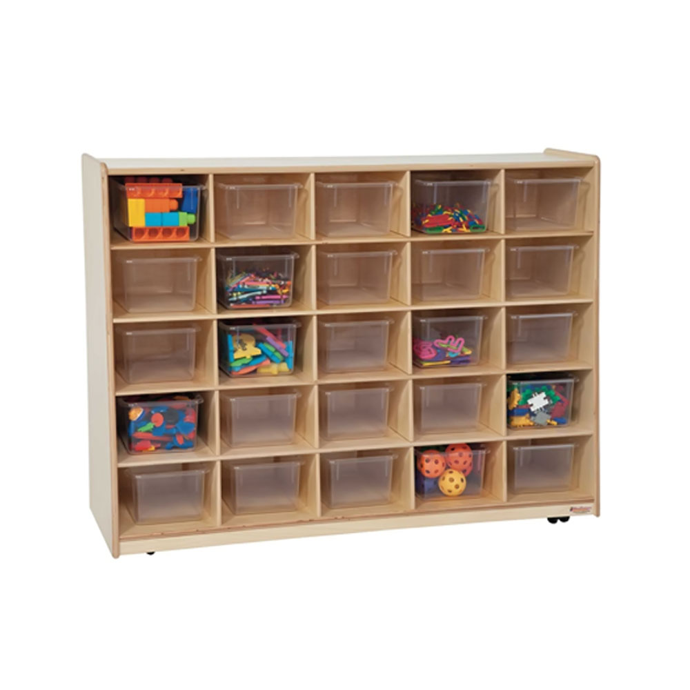 Wood Designs Kids Play Toy Book Plywood Organizer Wd16081 Tip-Me-Not 25 Tray Storage With Translucent Trays