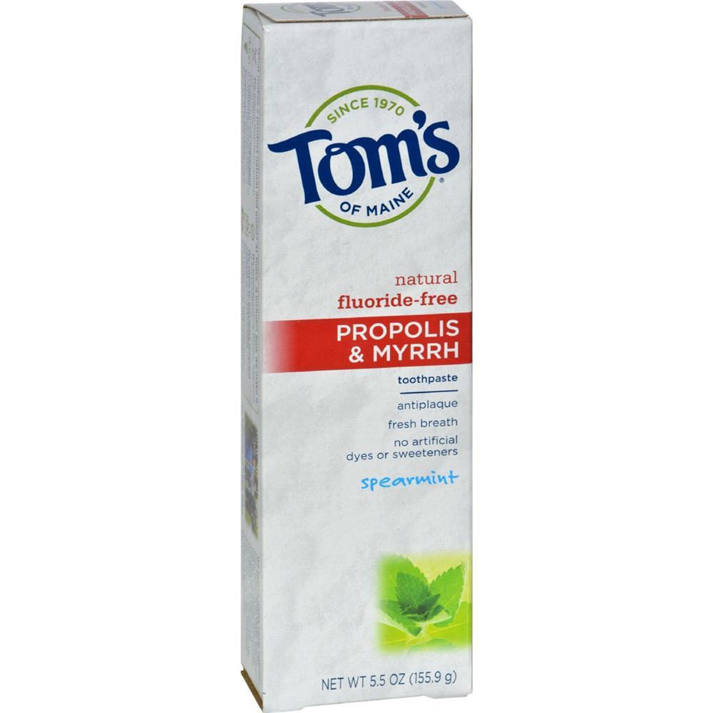 Tom's of Maine - Fluoride Free Toothpaste With Propolis & Myrrh - Spearmint ( 6 - 5.5 OZ)