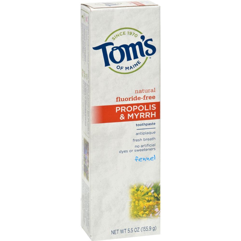 Tom's of Maine - Fluoride Free Toothpaste With Propolis & Myrrh - Fennel ( 6 - 5.5 OZ)