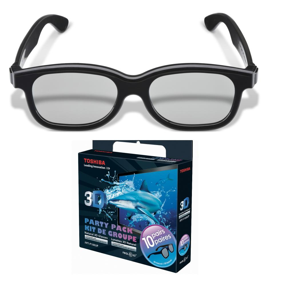 Toshiba Black Natural Passive 3D Glasses Party Pack (10 Pairs)