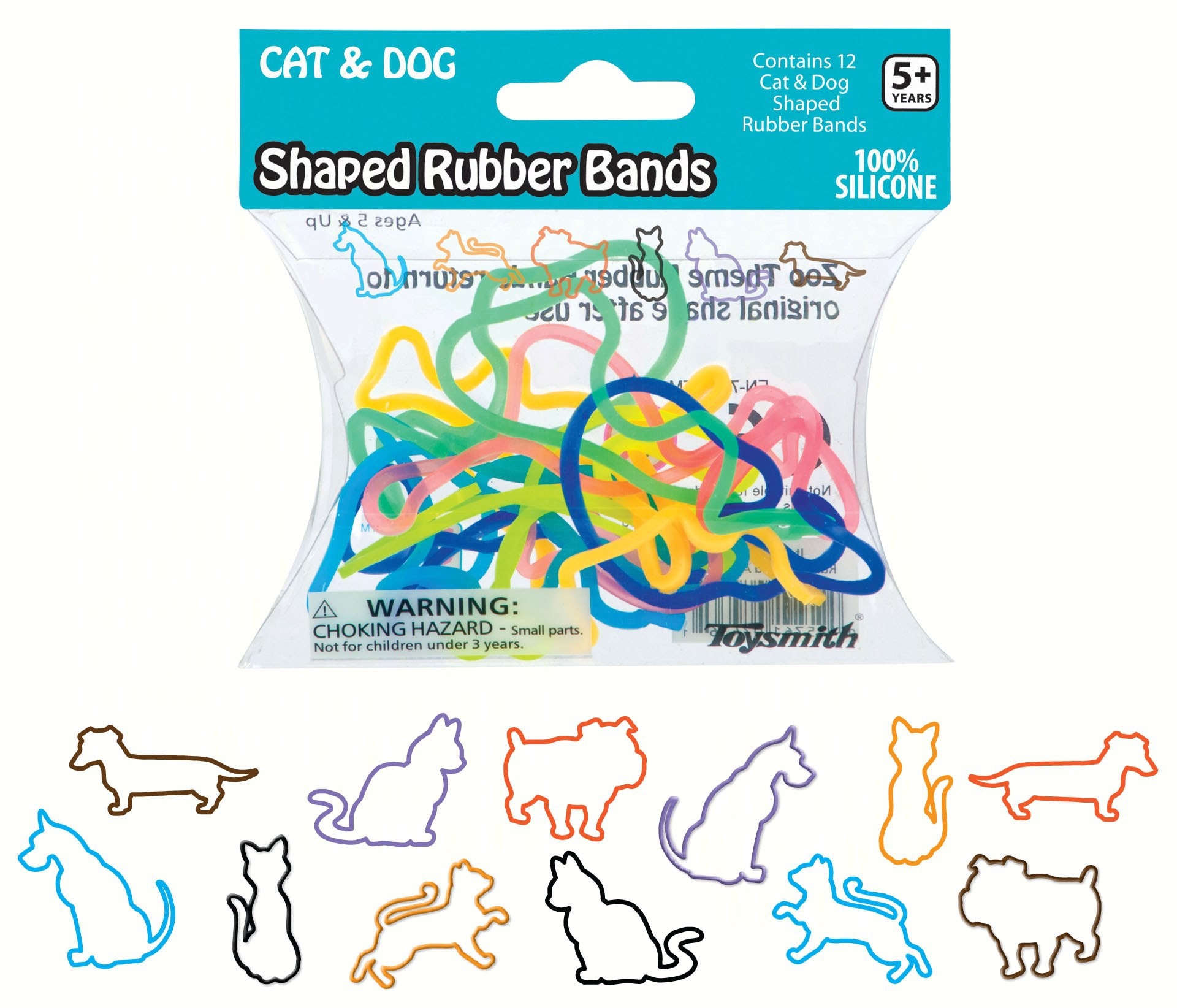 Cats and Dogs Shaped Rubber Bands 12 per pack