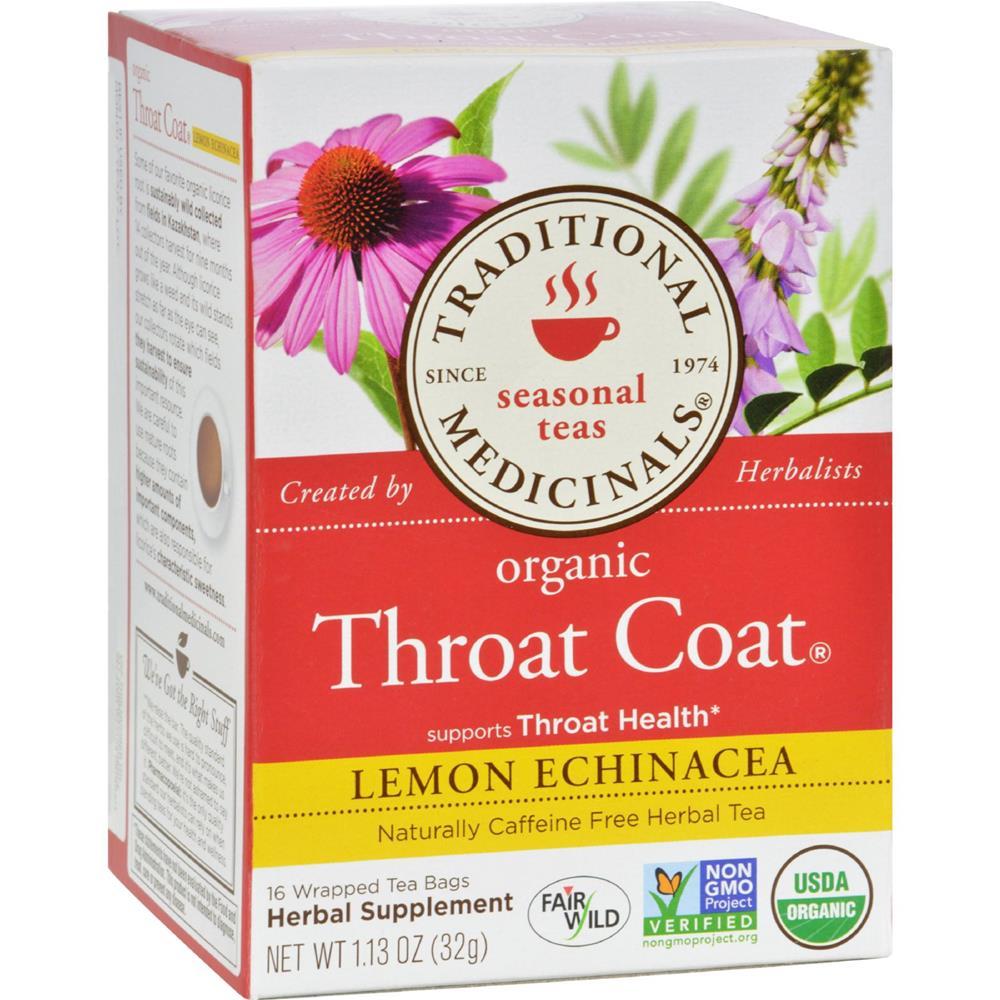 Traditional Medicinals - Organic Lemon Echinacea Throat Coat Herbal Tea ( 6 - 16 BAG)