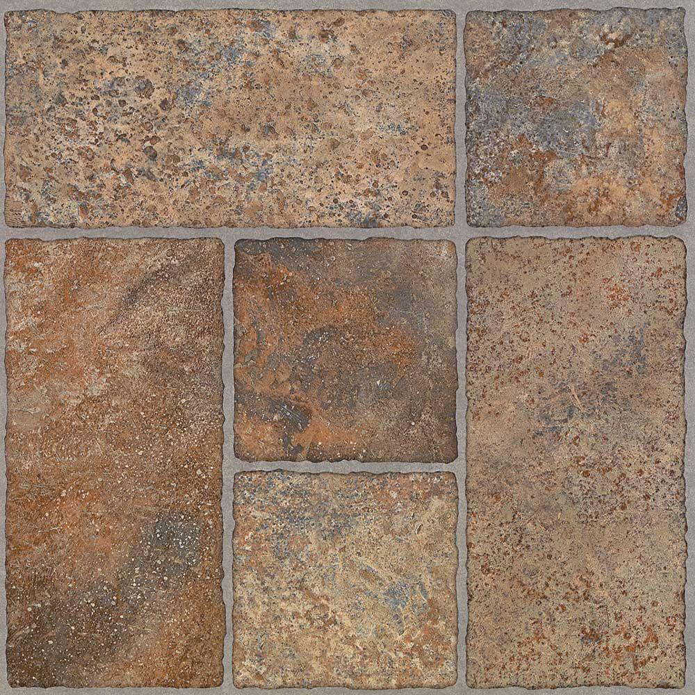 TRAFFICMASTER PEEL N' STICK TILE 12 IN. X 12 IN. BODDEN BAY TERRA COTTA 1.65MM (0.065 IN.) / 30 SQ. FT. PER CASE