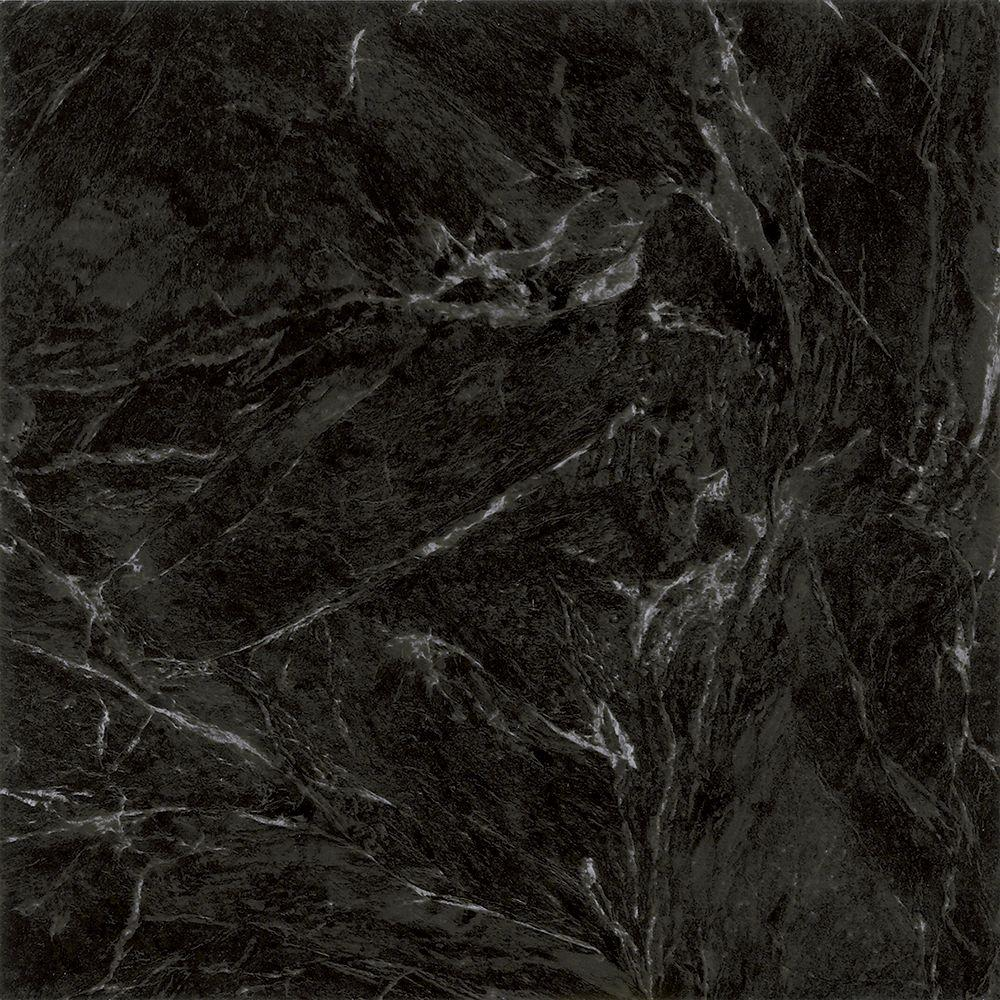 TRAFFICMASTER PEEL N' STICK TILE 12 IN. X 12 IN. CLASSIC MARBLE BLACK 1.65MM (0.065 IN.) / 30 SQ. FT. PER CASE