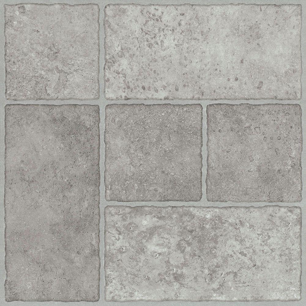TRAFFICMASTER PEEL N' STICK TILE 12 IN. X 12 IN. BODDEN BAY GREY 1.65MM (0.065 IN.) / 30 SQ. FT. PER CASE