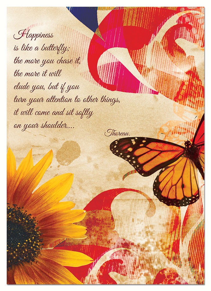 Happiness Butterfly Birthday Blank