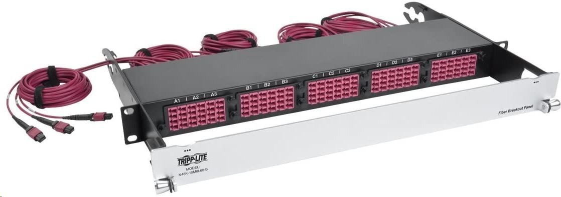 Tripp Lite 40Gb-10Gb Fiber 15MTP QSFP To 60LC Duplex OM4 50/125 MultiMode Ports 1U Patch Panel N48K-15M8L60-B
