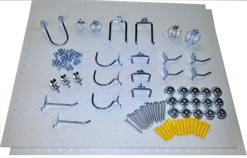 """(2) 22"""" W x 18"""" H x 1/8"""" D White Polypropylene Pegboards with 22 pc. DuraHook Assortment and Wall Mounting Hardware"""