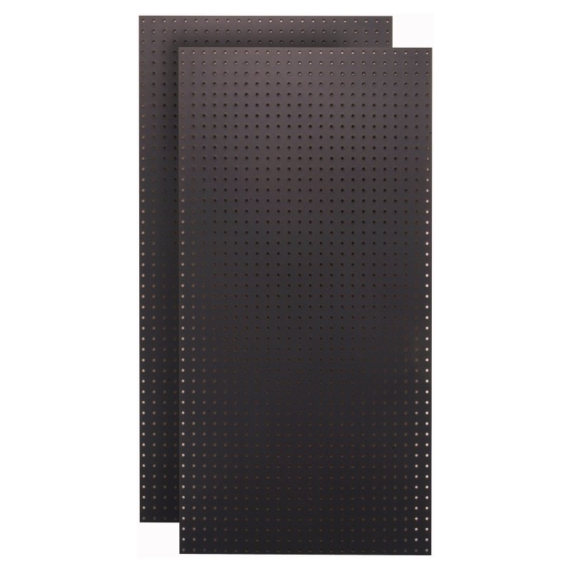 (2) 24 In. W x 48 In. H x 1/4 In. D Custom Painted Jet Black Heavy Duty Tempered Round Hole Pegboards