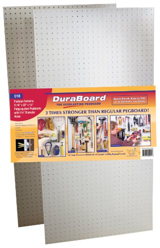 "(2) 22"" W x 18"" H x 1/8"" D White Polypropylene Pegboards with 3/16"" Hole Size"
