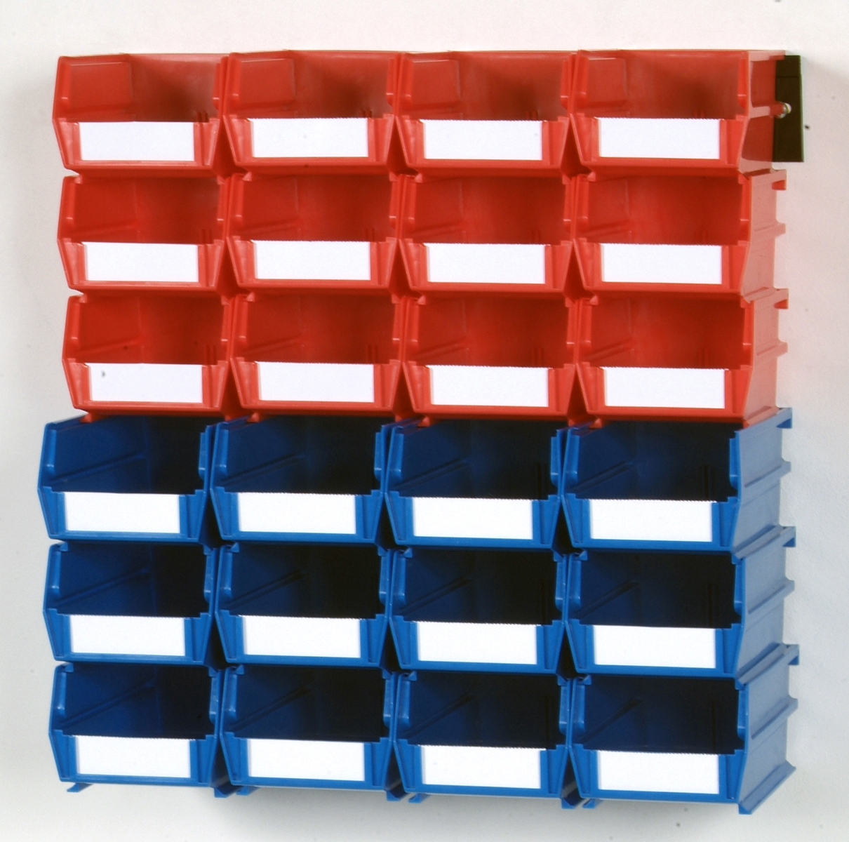 26 Pc Wall Storage Unit with (12) 5-3/8L x 4-1/8W x 3H Red Bins & (12) 7-3/8L x 4-1/8W x 3H Blue Bins, 24 CT, Wall Mount Rails