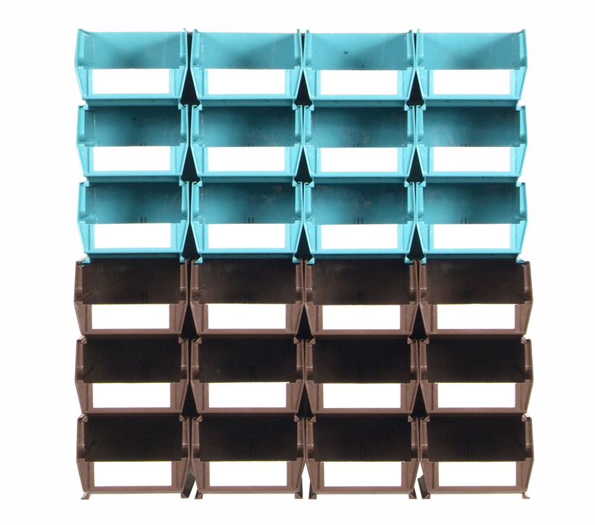 26 Pc Wall Storage Unit with (12) 5-3/8L x 4-1/8W x 3H Teal Bins & (12) 7-3/8L x 4-1/8W x 3H Brown Bins, 24 CT, Wall Mount Rails
