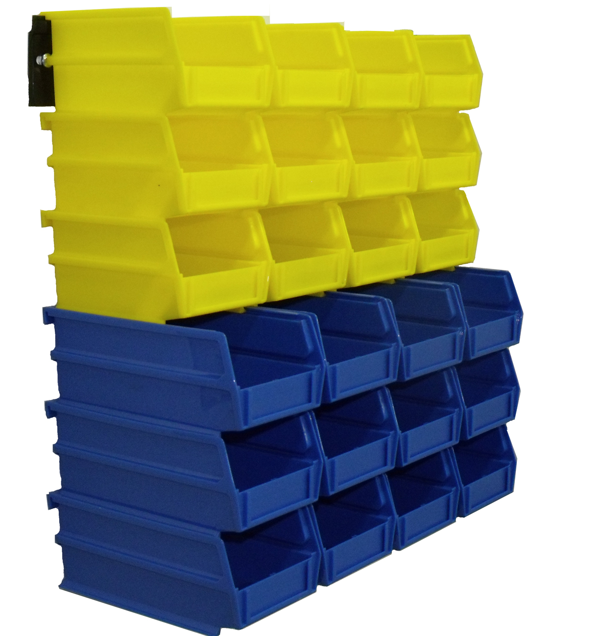 26 Pc Wall Storage Unit with (12) 5-3/8L x 4-1/8W x 3H YEL Bins & (12) 7-3/8L x 4-1/8W x 3H Blue Bins, 24 CT, Wall Mount Rails 8