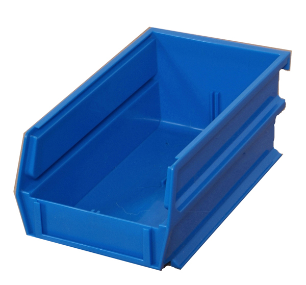 "5-3/8"" L x 4-1/8"" W x 3"" H Blue Stacking, Hanging, Interlocking Polypropylene Bins, 10 CT"