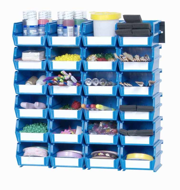 Wall Storage - Sm Blue Bins/Rails 26 CT