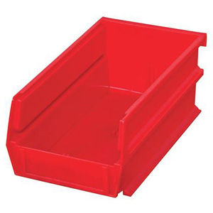 "Stacking, Hanging, Interlocking Polypropylene Bins, 7 3/8"" x 4 1/8"" x 3"" Red, 24-Pack"
