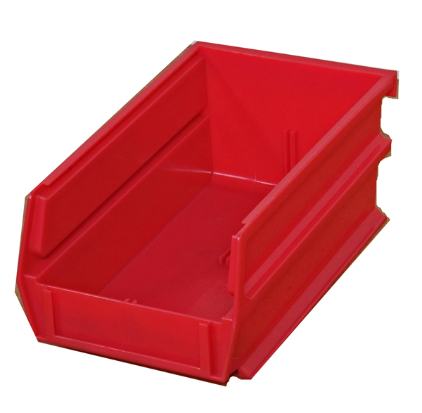 "5-3/8"" L x 4-1/8"" W x 3"" H Red Stacking, Hanging, Interlocking Polypropylene Bins, 10 CT"