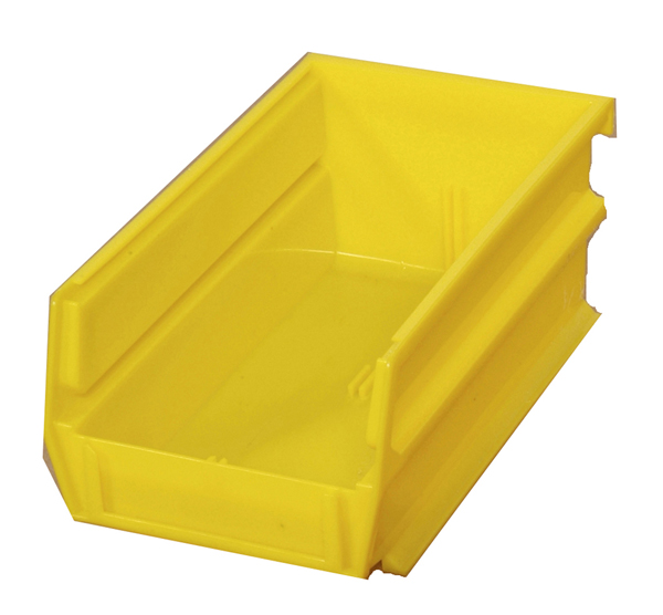 "5-3/8"" L x 4-1/8"" W x 3"" H Yellow Stacking, Hanging, Interlocking Polypropylene Bins, 10 CT"